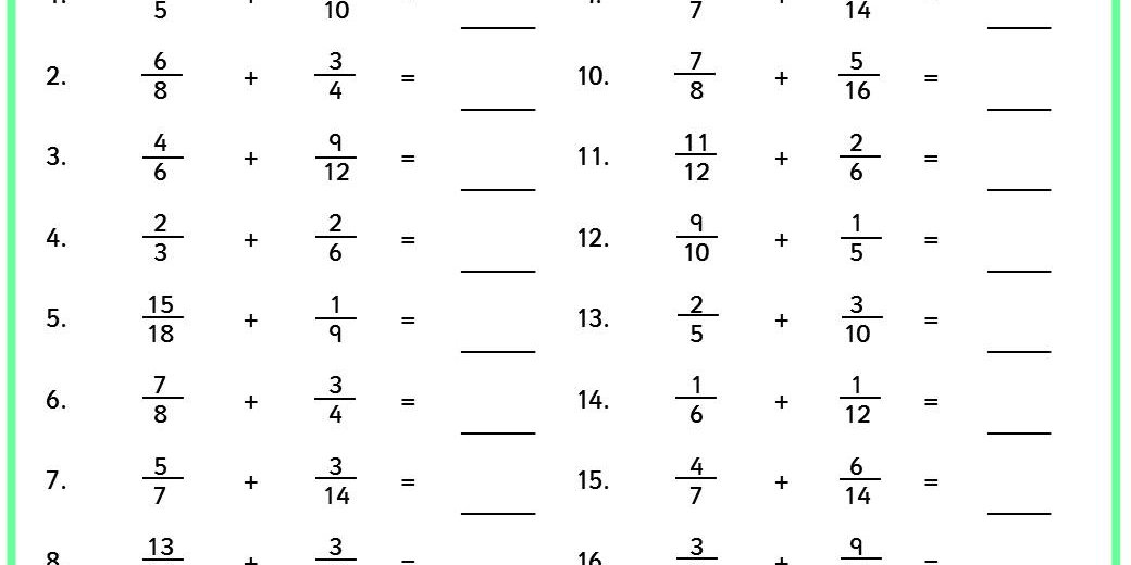 Adding Fractions Classroom Secrets – Addition of Fractions Worksheet