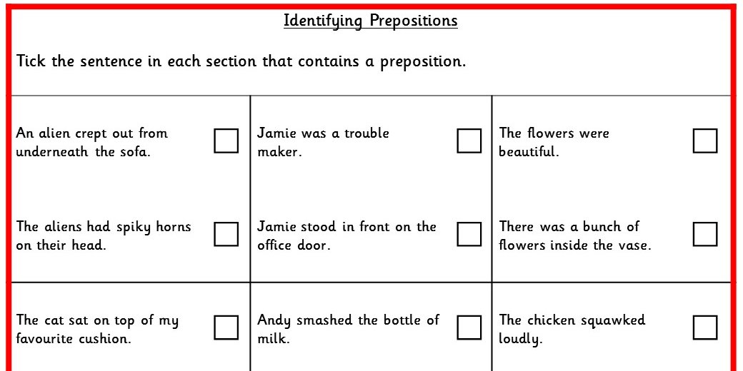 Identifying Prepositions KS2 SPAG Test Practice ...