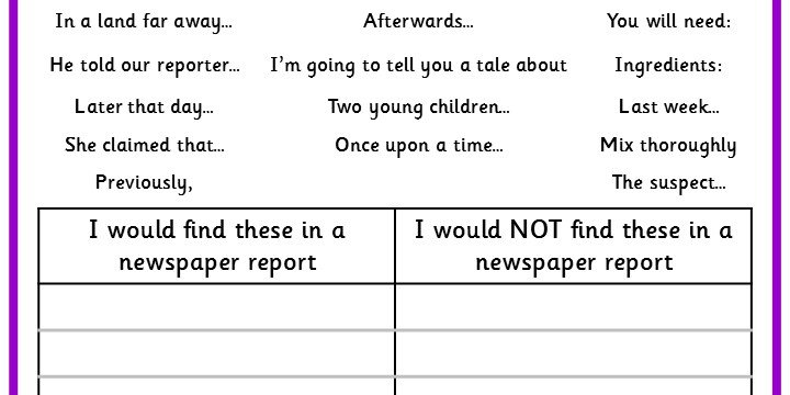 Sorting Newspaper Report Vocabulary  Classroom Secrets