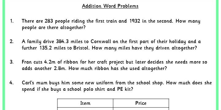 Addition Word Problems Classroom Secrets – Addition Word Problems Worksheets