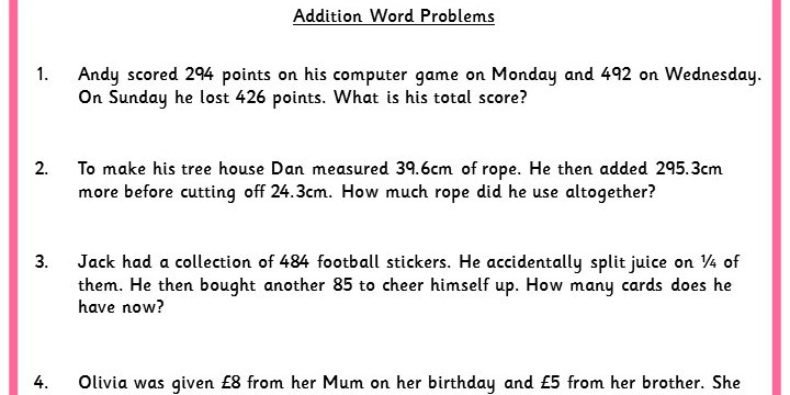 Addition Word Problems | Classroom Secrets