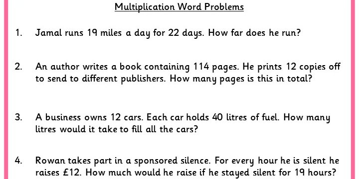 Multiplication Word Problems Classroom Secrets – Multiplication Word Problem Worksheet