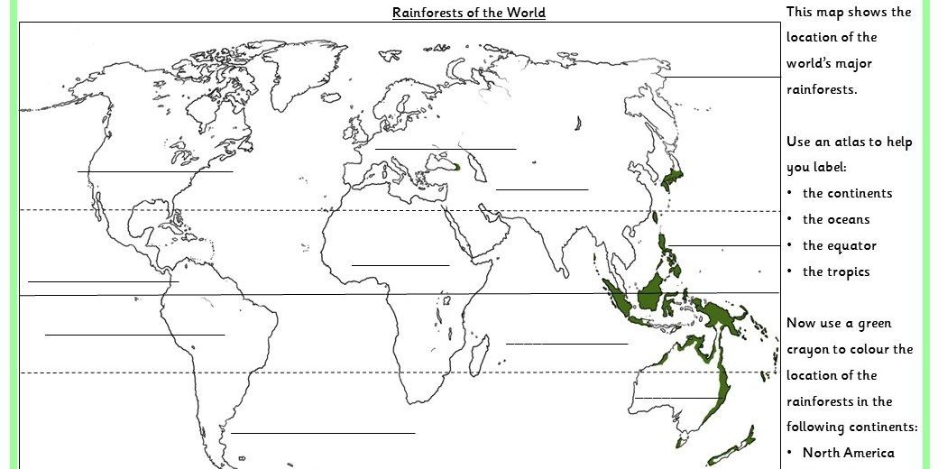 Rainforests Of The World Map Activity Classroom Secrets