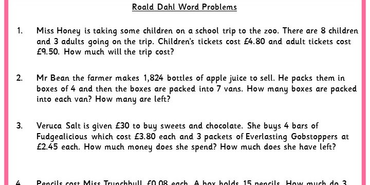 Roald Dahl Word Problems - Classroom Secrets | Classroom Secrets