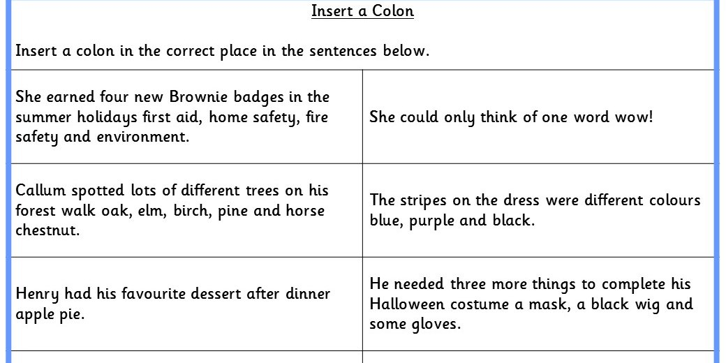 Insert a Colon KS2 SPAG Test Practice – Semicolon Practice Worksheets